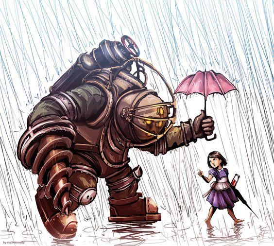 Bioshock - Big Daddy in the Rain by =maXKennedy on deviantART