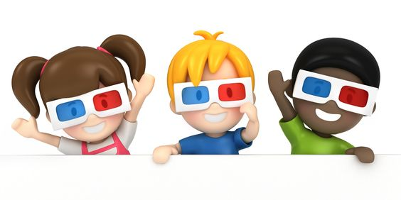 3d render of a kids wearing 3d glass and blankboard - 3d render of a kids wearing 3d glass and blankboard