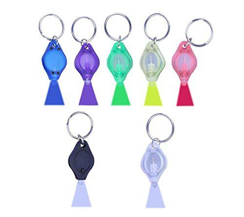 WAYLLSHINE 7 Pack/7 Colors Shell 6 Colors Beam 22000MCD Mini LED Flashlight Torch Light Lamp Keychain LED Keychain 7 Colors Shell 6 Colors Beam--White/Blue/Red/Green/Yellow/Purple Beam