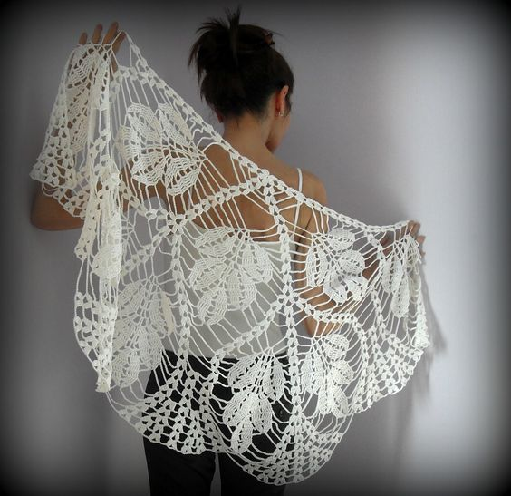 crochet  lace  | WHITE LEAVES- Hand Crochet Lace Wrap Shawl: