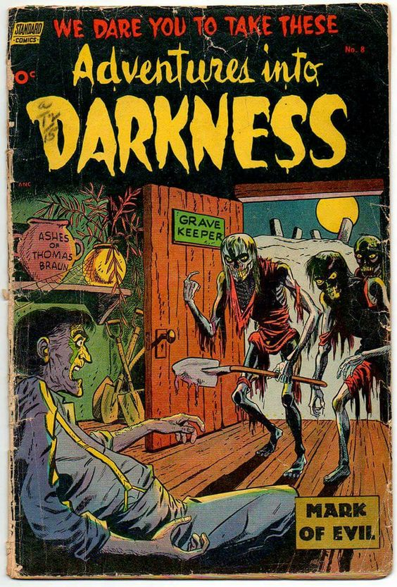 Ned Pines's Standard Publications only started producing horror comics at the height of the craze and stopped after 31 issues. Its line included Adventures into Darkness (August 1952- June '54, 10 issues), Out of the Shadows (July '52-August '54, 10 issues), and The Unseen (June '52-July '54, 11 issues).