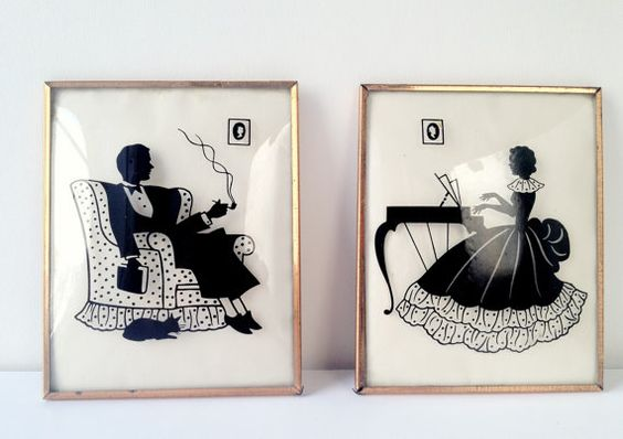 Pair Vintage Silhouettes with Gold Metal Framed Convex by ChezOona, $49.00