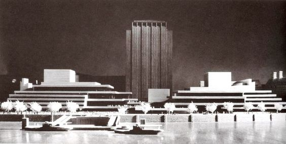 National Theatre and Opera House, (Jubilee Gardens Site) Belvedere Road, South Bank. Denys Lasdun #unbuiltlondon