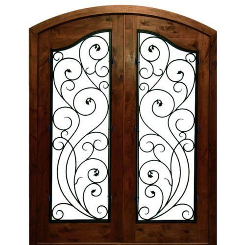 Dsa Doors Cliffs Redwood E 17 Pre Hung Arch Top Knotty Alder Double Entry Doors With Decorative Ventanas De Hierro Puertas De Hierro Forjado Puertas De Hierro