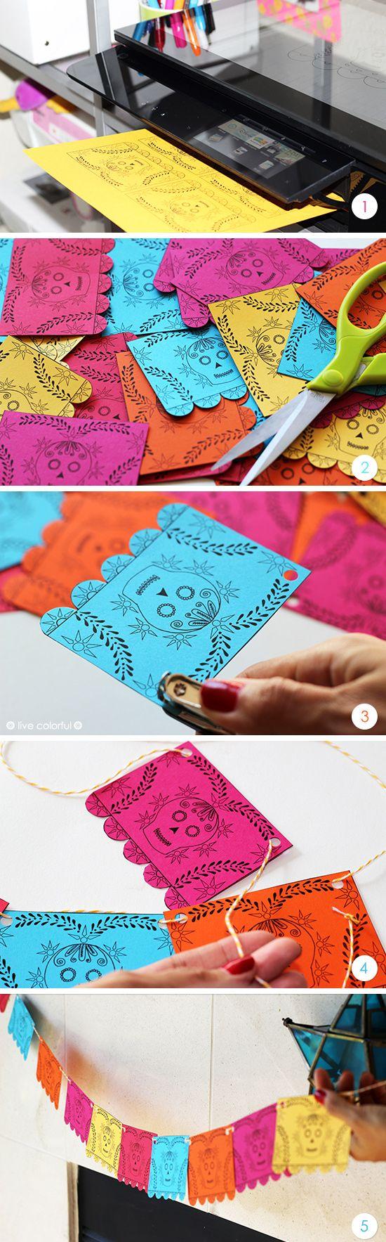 Haz una guirnalda con este imprimible mini papel picado y decora tu casa o el altar del Día de los Muertos | LiveColorful.com