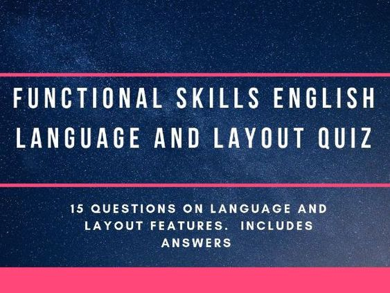 Language And Layout Features Quiz English Reading Writing