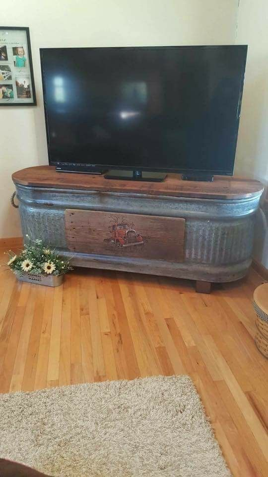 Rustic Trough Tv Stand Perfect For The Farmhouse Home Diy Home Decor Pallet Entertainment Centers