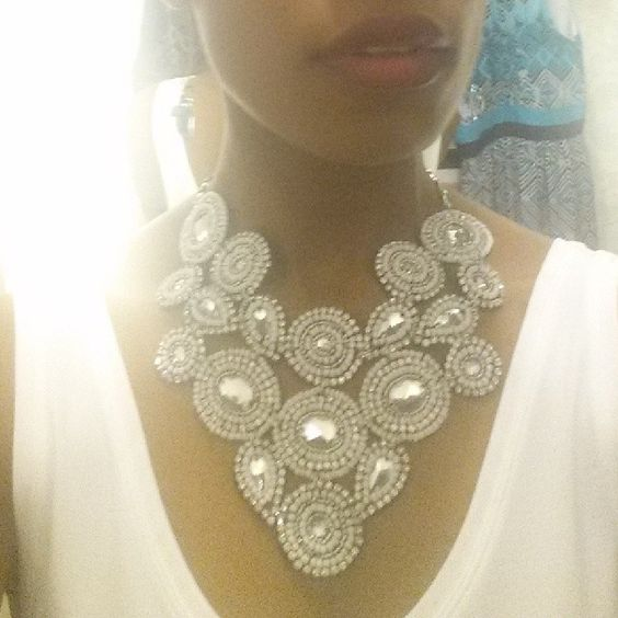 Gorgeous beaded necklace from #whitehouseblackmarket - turns any shirt into  topic of conversation #fashion #style #jewelry