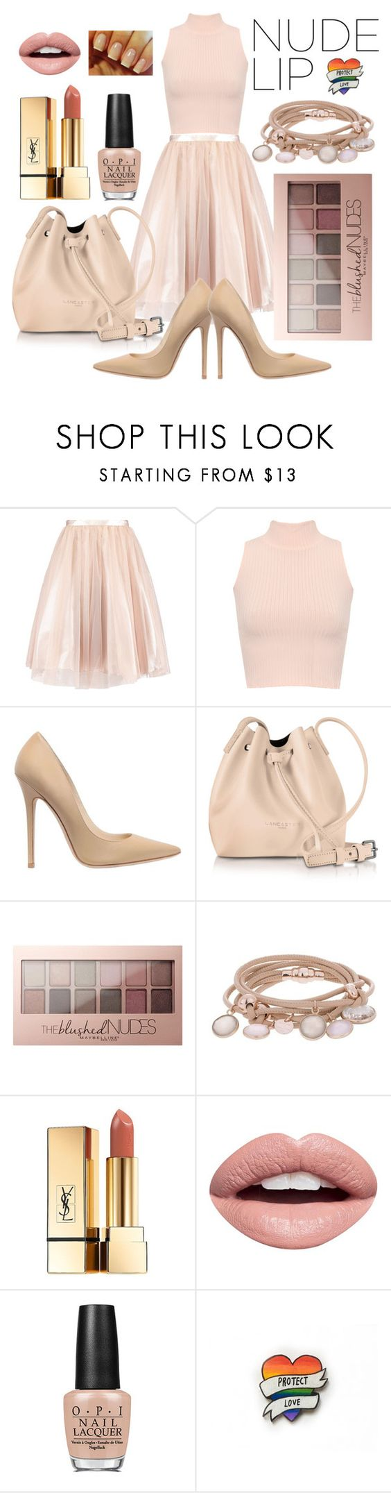 """""""Perfect Nude Lips"""" by ichaaica ❤ liked on Polyvore featuring beauty, WearAll, Jimmy Choo, Lancaster, Maybelline, Marjana von Berlepsch, Yves Saint Laurent, Nevermind and OPI"""