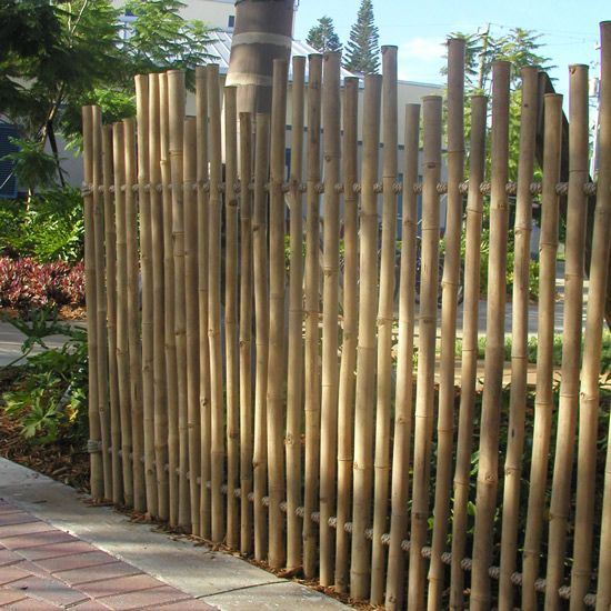 Rustic Bamboo Fence Safari Thatch With Images Bamboo Fence