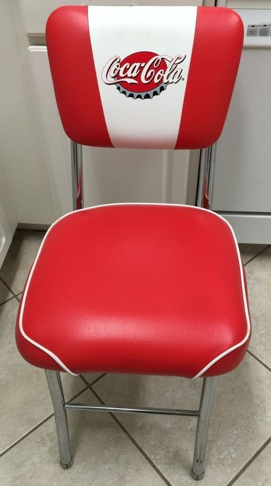 Coke Coca Cola Straight Back Chair Red Vinyl Chrome 50 39 S