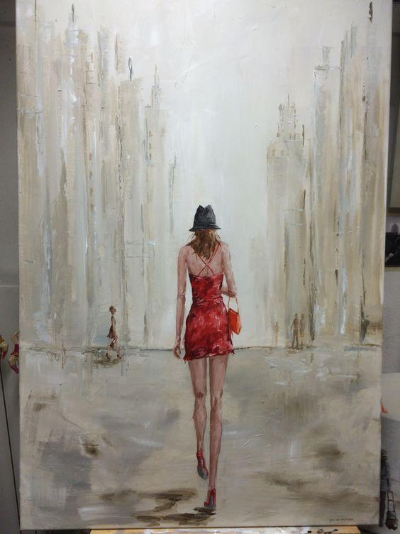 Hedendaagse kunst, vrolijk, stad, vrouwen, meisjes, figuratief ...