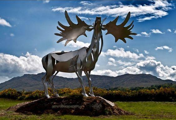 Sculpture of an Irish Elk, an extinct species, located in Warrenpoint, Ireland.