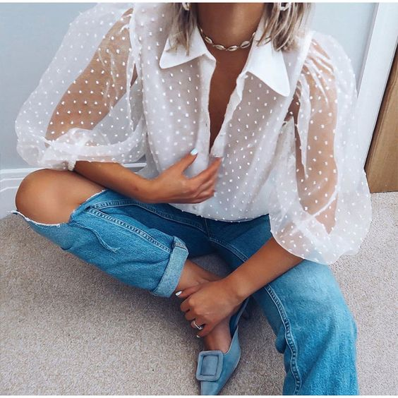 Appliques Dot Knit Transparent Women's Lantern Sleeve Shirt Solid White Blouse Women Autumn 2019 Tops And Blouses Women Vintage-in Blouses & Shirts from Women's Clothing on Aliexpress.com | Alibaba Group