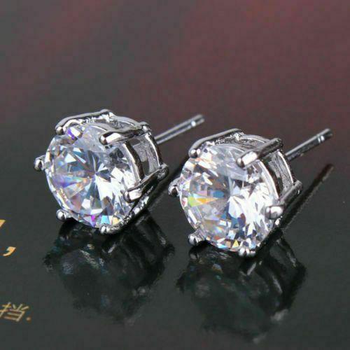 2CT Women/'s Stylish 14K Solid WG Round White Sapphire Stud Screwback Earrings