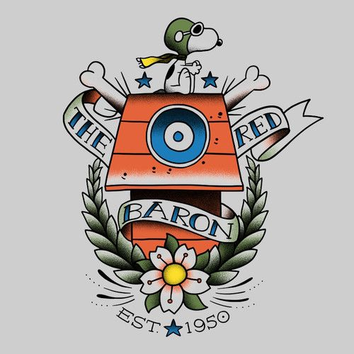 Snoopy red baron tattoo peanuts t shirt i n k for Red baron tattoo