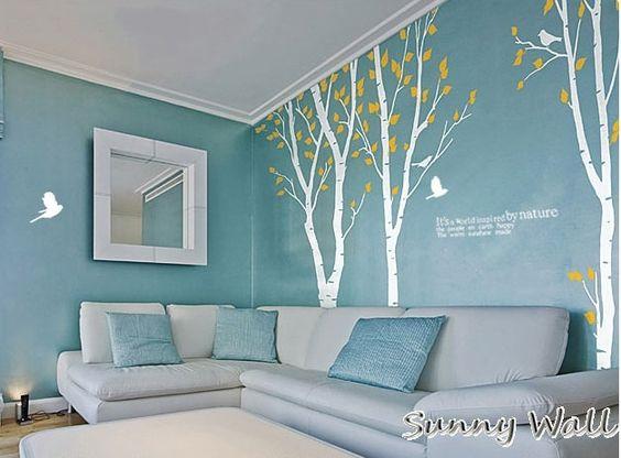 Three birch trees 2 vinyl wall sticker wall decal for Birch tree mural nursery