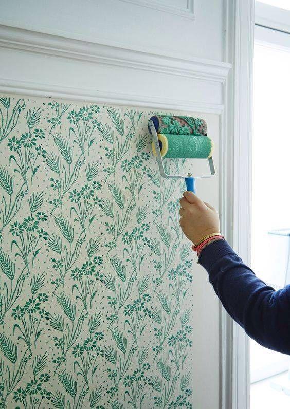 Diy Painted Floral Pattern Wall Paint Designs Diy Wall Painting Diy Wallpaper