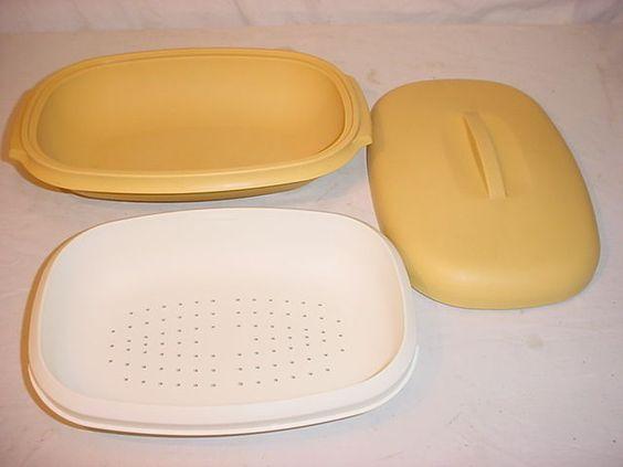 Vtg Harvest Gold Tupperware Vegetable Microwave Steamer 3 Pc w Divider EUC #1273