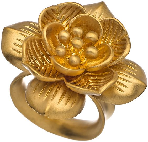 Satya Jewelry Gold Floral Ring