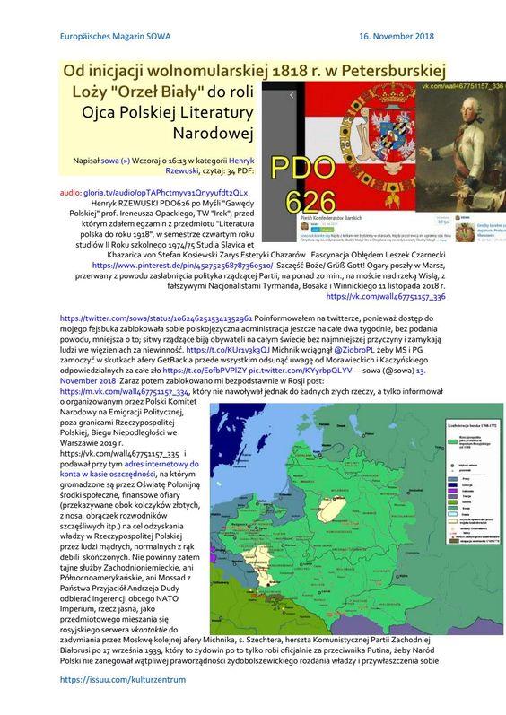 Henryk RZEWUSKI PDO626 SSetKh von Stefan Kosiewski ZECh Od inicjacji wolnomularskiej w Petersburskie