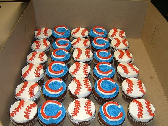 Cupcakes for the Chicago cubs                                                                                                                                                     More