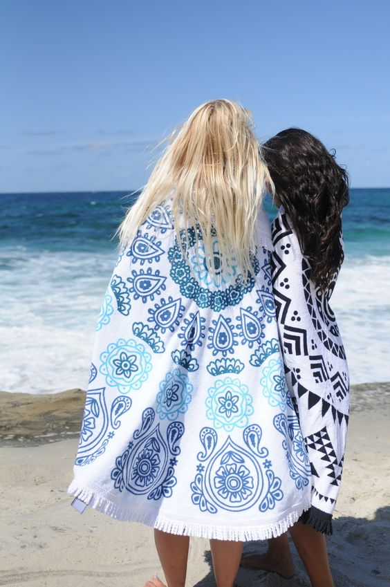 """The Moana is a roundbeach towel that makes every experience at the ocean unforgettable. """"Moana"""" means the ocean in Hawaiian. Made from the softest terry cotton"""