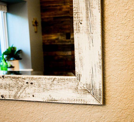 16 X 20 Shabby Chic Barnwood Mirror Whitewashed (100% Reclaimed Wood) on Etsy, $65.00