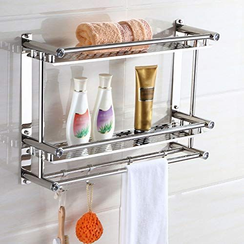 Loveolvidos Stainless Steel Anti Rust Double Layer Wall Mounted Hanging Towel Rack Washbasin W Towel Shelf Bathroom Shelves For Towels Stainless Steel Bathroom