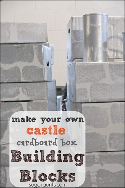 Diy castle cardboard blocks pretend play be cool and for Castle made out of cardboard boxes