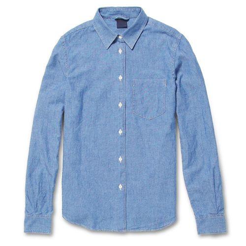 Man-Cut Indigo Chambray Shirt. via The Cools