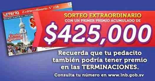 Salvador, Lotería Nacional de Beneficencia celebro el sorteo Extraordinario Nº 156 del jueves 7 de Agosto 2014.
