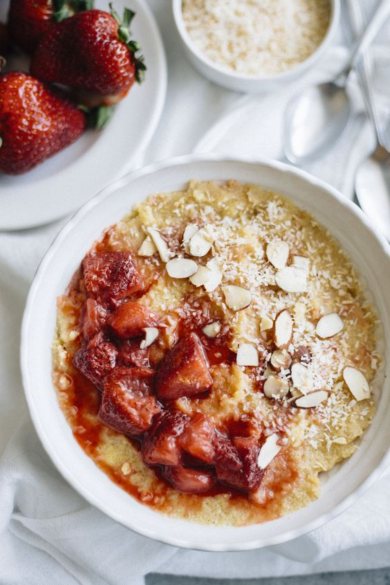 ... breakfast bowls polenta bowls strawberries breakfast almonds coconut