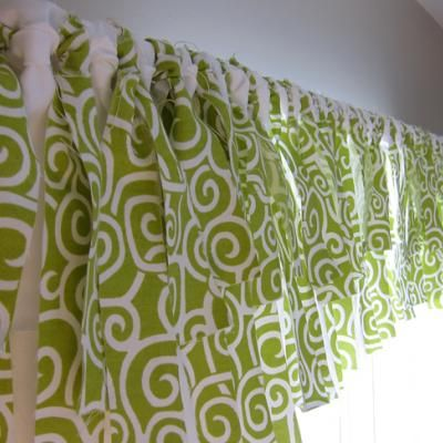 No-sew window valence for the kitchen.  Not sure if I like this idea or not....