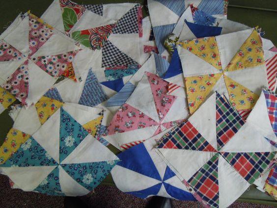 Vintage pinwheel quilt blocks (70)