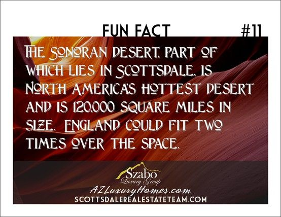 The Sonoran desert, part of which lies in Scottsdale, is North America's hottest desert and is 120,000 square miles in size.  England could fit two times over the space.