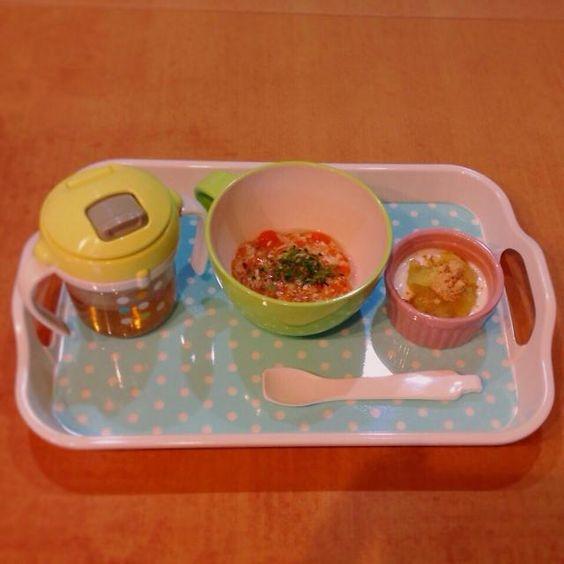 ♢ササミと椎茸と人参の餡掛け丼 ♢さつま芋とりんごときな粉のヨーグルト ♢麦茶 - 8件のもぐもぐ - 離乳食 by kaiton0312