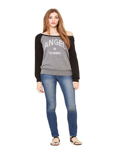 Fall is here! Angel in Training Wide Neck Crew by Unashamed Clothing Co. Walk Unashamed!