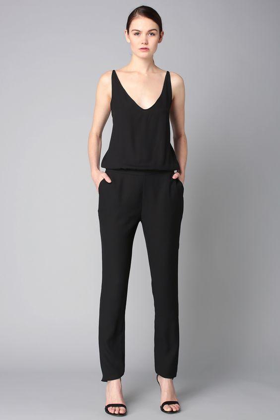 Combi-pantalon noire dos dentelle Combi