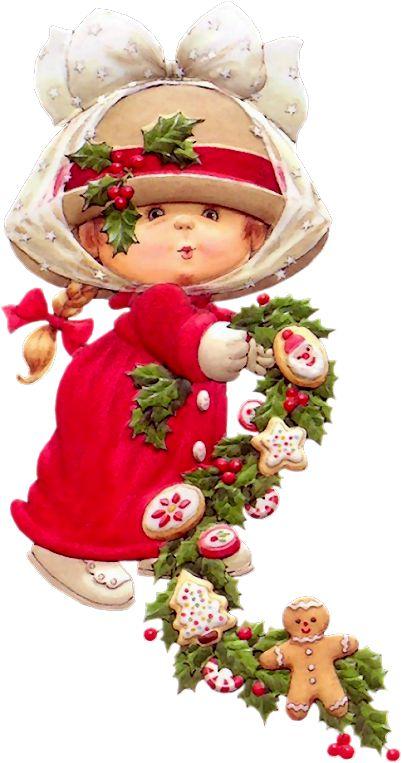 CHRISTMAS, LITTLE GIRL WITH GARLAND