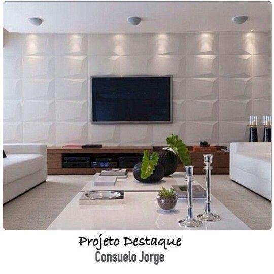 Sala Com Tv Lcd Na Parede ~  na sala de TV  Papel de parede e revestimentos  Pinterest  TVs