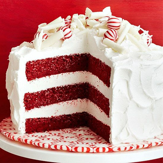Peppermint Red Velvet Cake | Peppermint cake, Homemade red velvet cake, Xmas desserts