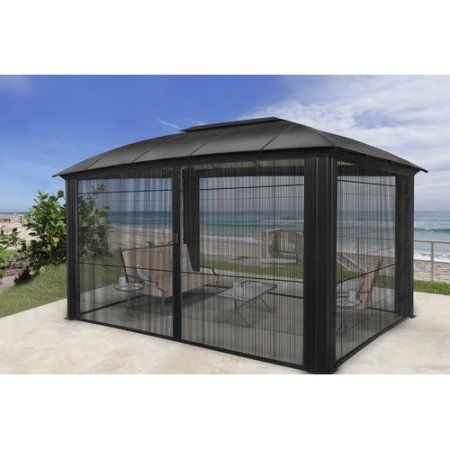 Siena 12x12 Hard Top Gazebo With Sliding Screen Walmart Com Aluminum Gazebo Patio Gazebo Aluminum Roof