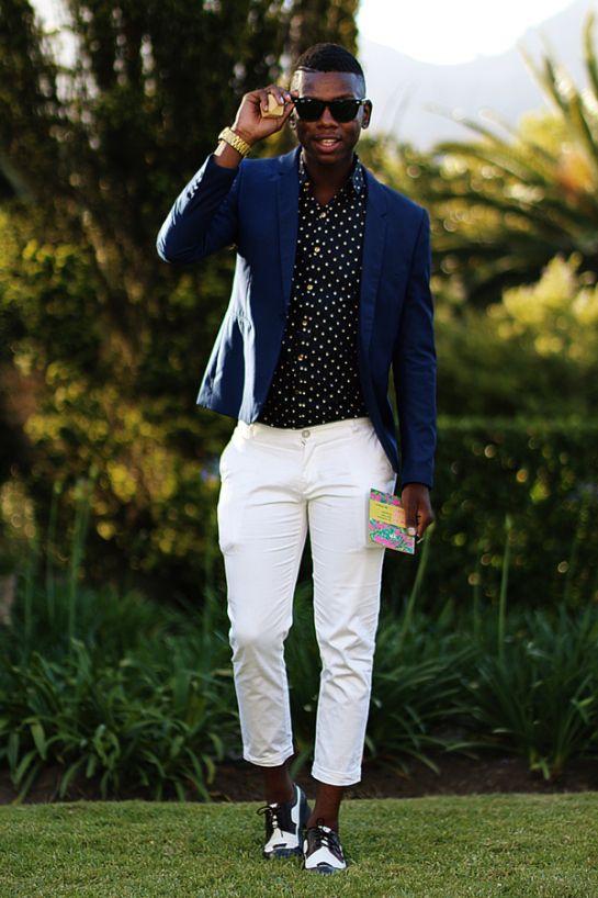 Blue And White Polka Dot Shirt Mens
