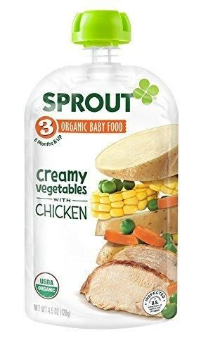 Sprout Organic Baby Food Stage 3 Pouches Creamy Vegetables with Chicken 4.5 Ounce (Pack of 5)