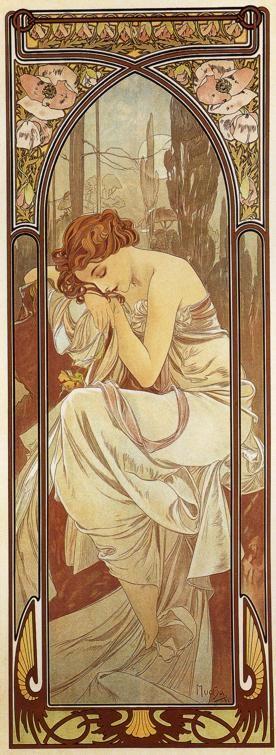 The Times Of Day, Night's Rest by Alphonse Mucha: Alfons Mucha, Art Nouveau, Mucha S, Night, Art Deco, Alphonse Mucha, New Art, La Nuit, Art Noveau