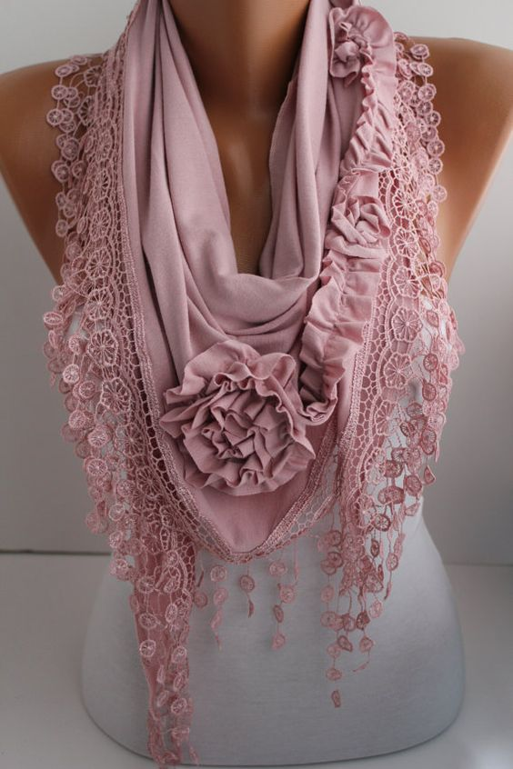 Rose Scarf - Shawl Scarf -  Jersey Shawl-  Lace Scarf - Pale Pink Triangle Scaf -Women's Fashion Accessories DIDUCI: