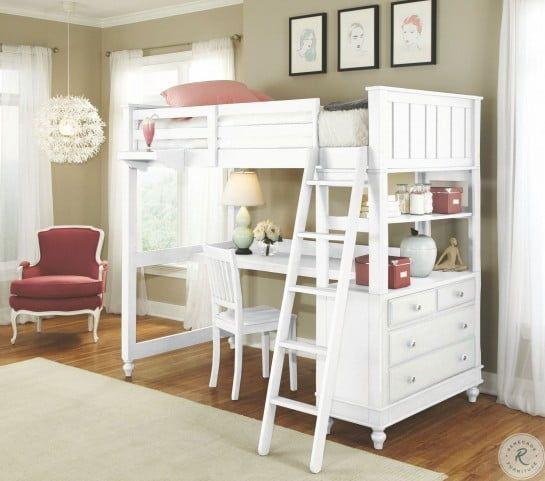 Lake House White Twin Loft Bed With Desk In 2020 White Loft Bed Loft Bed Desk Bunk Bed With Desk