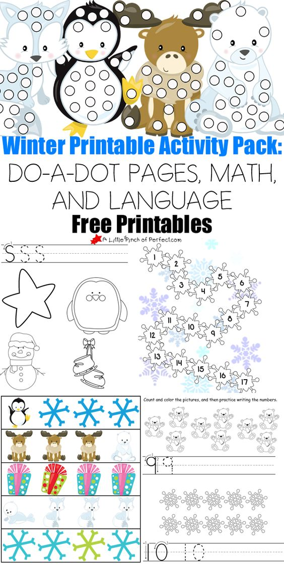free winter printable activity pack do a dot pages math and language kids season. Black Bedroom Furniture Sets. Home Design Ideas