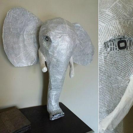 tete d'elephant papier maché 1